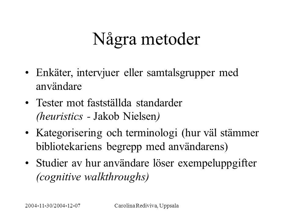 2004-11-30/2004-12-07Carolina Rediviva, Uppsala Några metoder Enkäter, intervjuer eller samtalsgrupper med användare Tester mot fastställda standarder