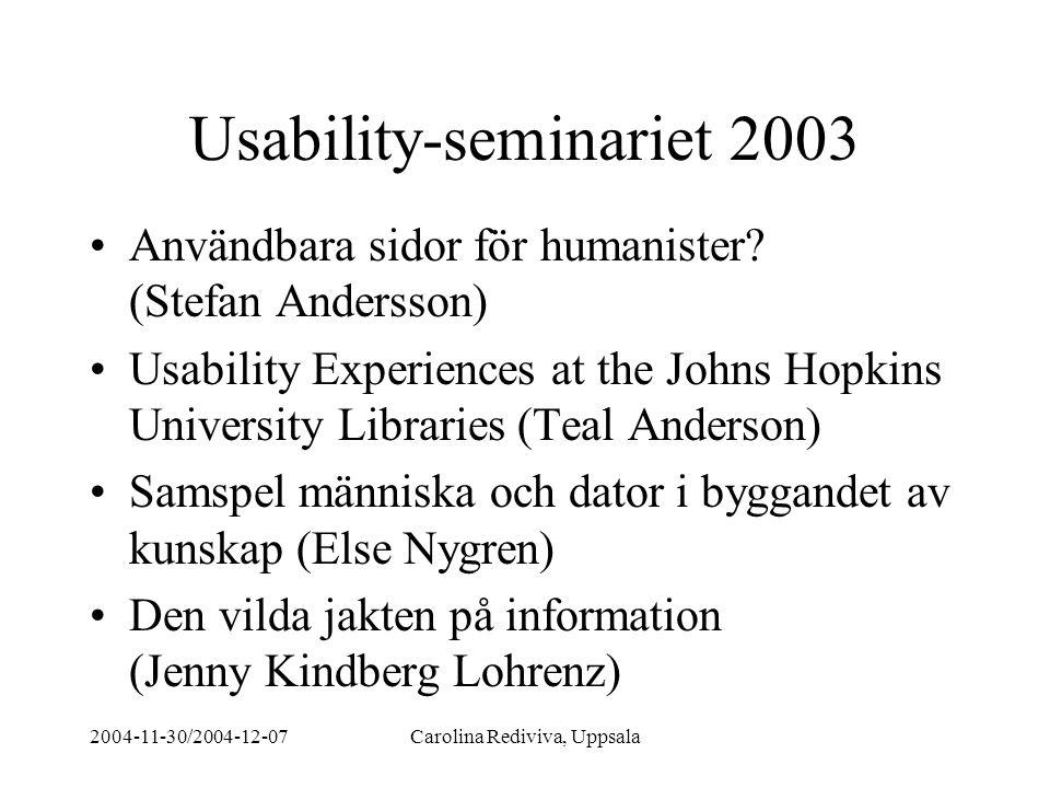 2004-11-30/2004-12-07Carolina Rediviva, Uppsala Några fallstudier Den vilda jakten på information: Humanisters sökande DISA och LIBRIS - en användarstudie - Kindberg Lohrenz (magisteruppsats) Utvärdering av sökvägledningar - Nygren http://www.kb.se/bibsam/bidrag/projbidr/avslutad e/2004/sokvagledn_rapport.pdf Användbara webbplatser för humanister.