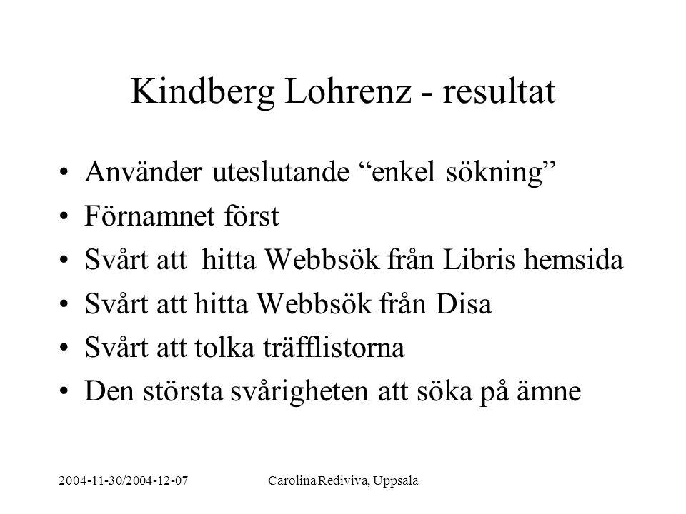"""2004-11-30/2004-12-07Carolina Rediviva, Uppsala Kindberg Lohrenz - resultat Använder uteslutande """"enkel sökning"""" Förnamnet först Svårt att hitta Webbs"""