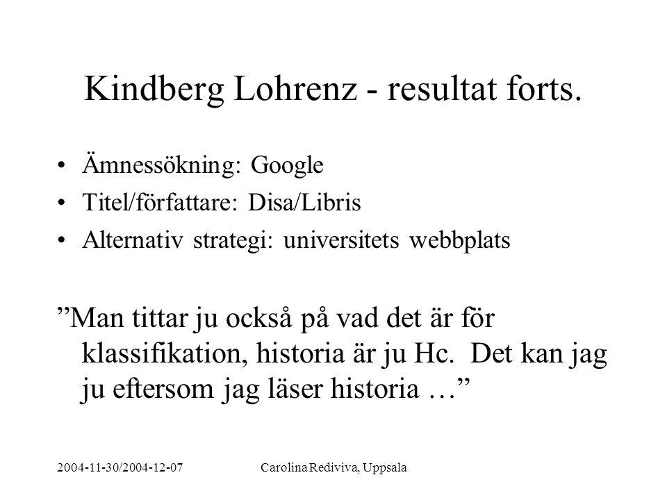 2004-11-30/2004-12-07Carolina Rediviva, Uppsala Kindberg Lohrenz - resultat forts. Ämnessökning: Google Titel/författare: Disa/Libris Alternativ strat