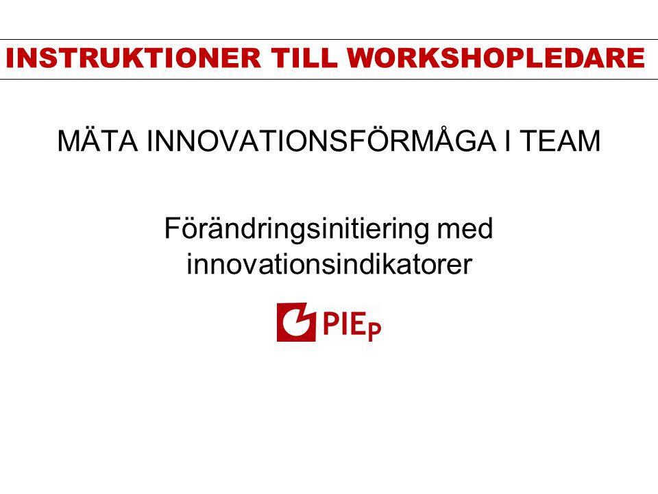 MÄTA INNOVATIONSFÖRMÅGA I TEAM Förändringsinitiering med innovationsindikatorer INSTRUKTIONER TILL WORKSHOPLEDARE