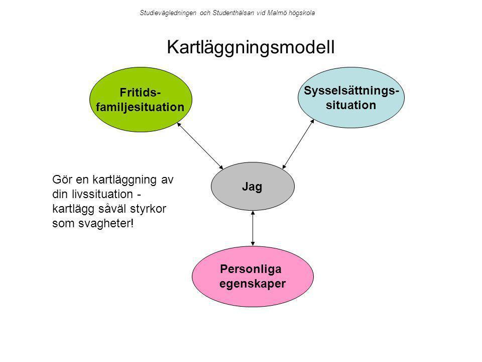 Jag Personliga egenskaper Sysselsättnings- situation Fritids- familjesituation Kartläggningsmodell Gör en kartläggning av din livssituation - kartlägg såväl styrkor som svagheter.