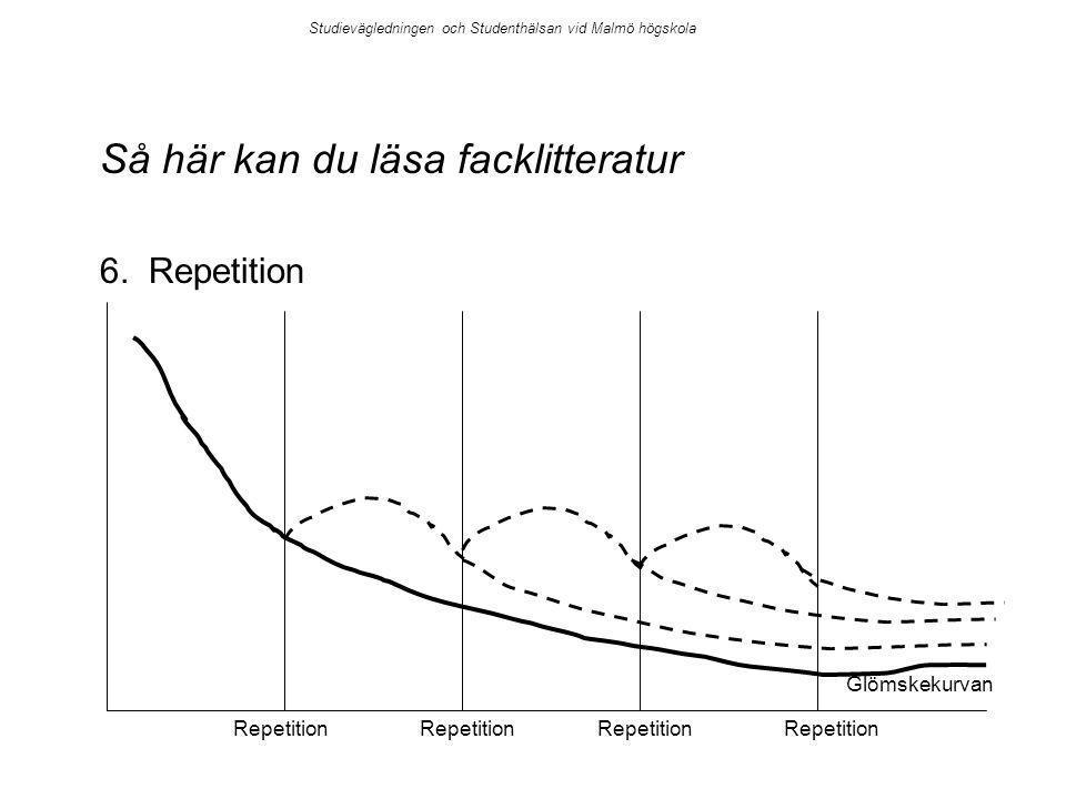 Så här kan du läsa facklitteratur 6. Repetition Repetition Glömskekurvan Repetition Studievägledningen och Studenthälsan vid Malmö högskola