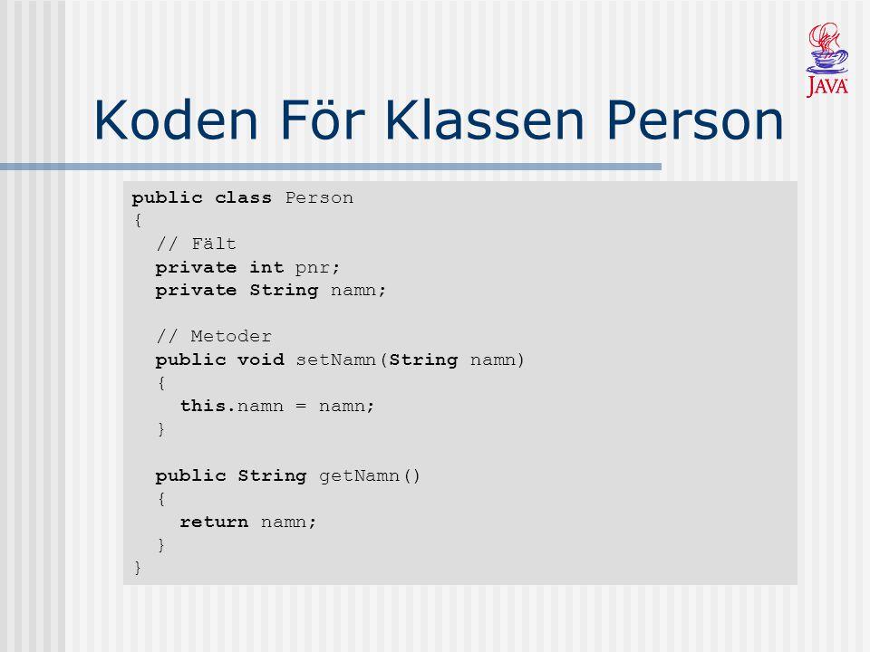 Koden För Klassen Person public class Person { // Fält private int pnr; private String namn; // Metoder public void setNamn(String namn) { this.namn = namn; } public String getNamn() { return namn; } }