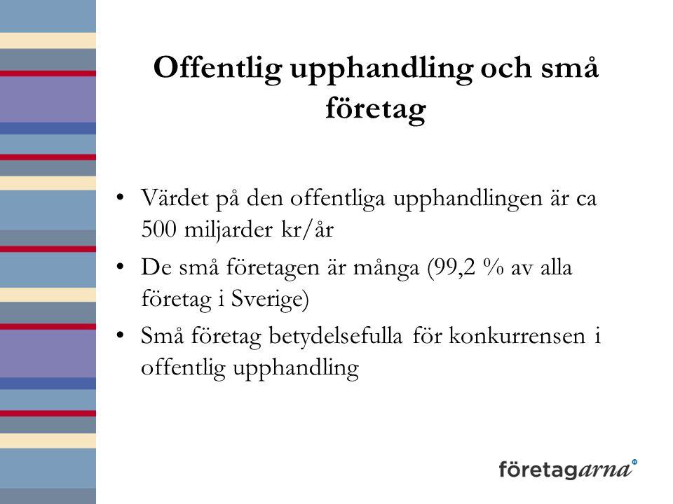 Offentlig upphandling och små företag Värdet på den offentliga upphandlingen är ca 500 miljarder kr/år De små företagen är många (99,2 % av alla företag i Sverige) Små företag betydelsefulla för konkurrensen i offentlig upphandling
