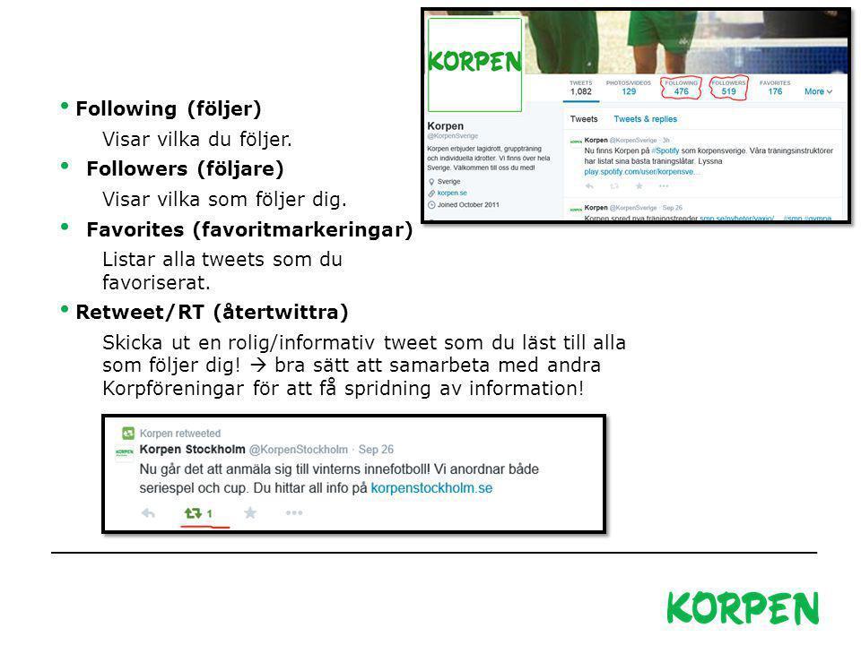 Korpen Svenska Motionsidrottsförbundet Besöks- och leveransadress: Fiskartorpsvägen 15A, 114 73 Stockholm Telefon växel: 08-699 60 00 E-post: info@korpen.se Hemsida: www.korpen.se Following (följer) Visar vilka du följer.