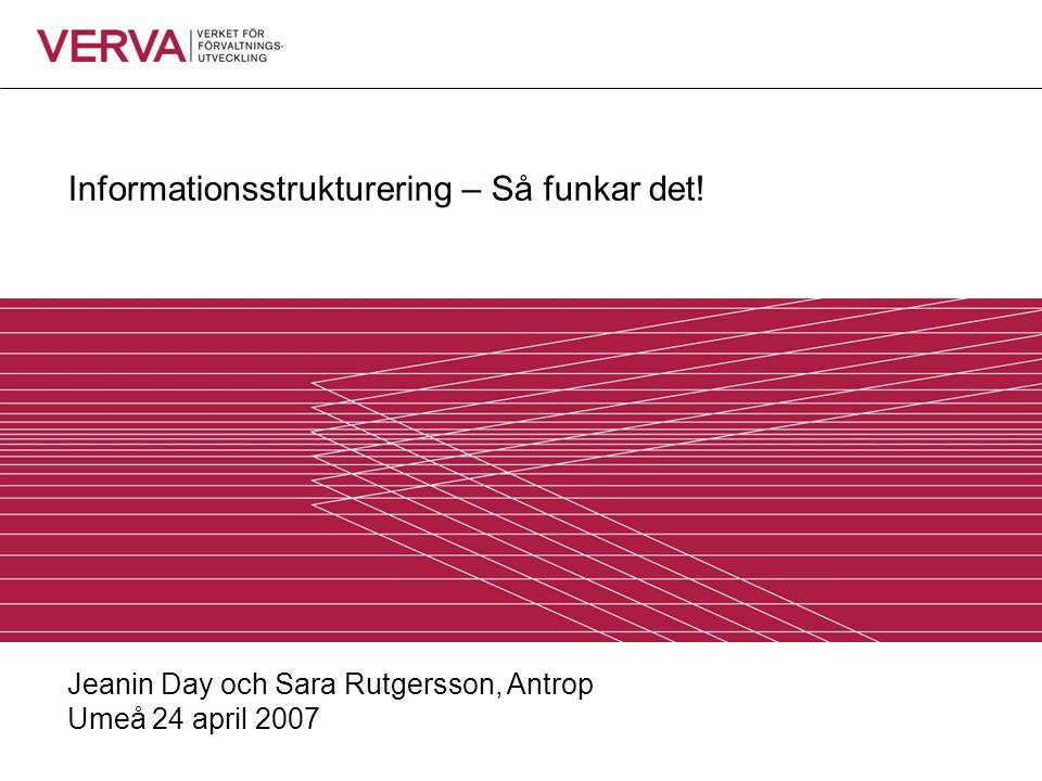 Informationsstrukturering – Så funkar det! Jeanin Day och Sara Rutgersson, Antrop Umeå 24 april 2007