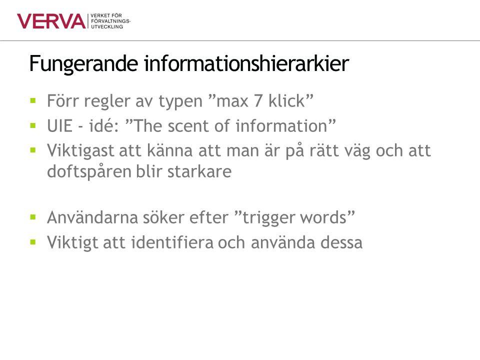 """Fungerande informationshierarkier  Förr regler av typen """"max 7 klick""""  UIE - idé: """"The scent of information""""  Viktigast att känna att man är på rät"""