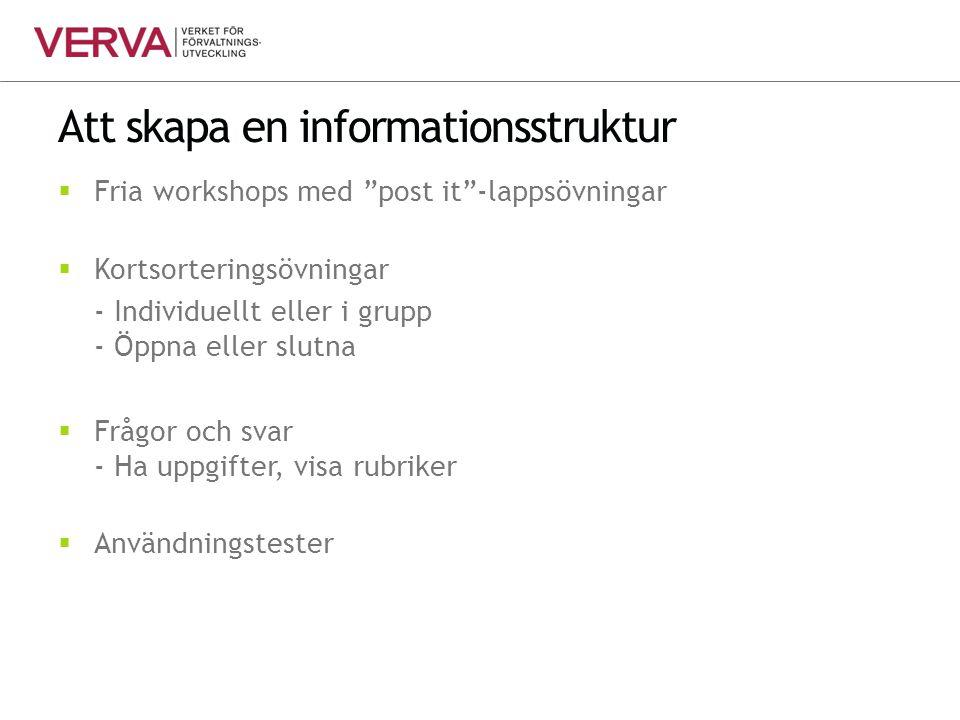 """Att skapa en informationsstruktur  Fria workshops med """"post it""""-lappsövningar  Kortsorteringsövningar - Individuellt eller i grupp - Öppna eller slu"""