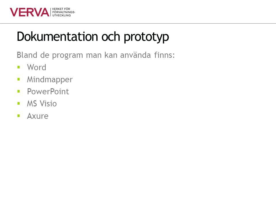 Dokumentation och prototyp Bland de program man kan använda finns:  Word  Mindmapper  PowerPoint  MS Visio  Axure