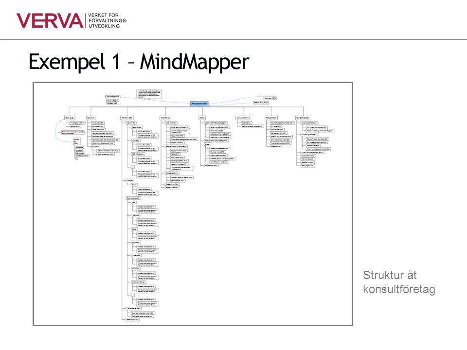 Exempel 1 – MindMapper Struktur åt konsultföretag