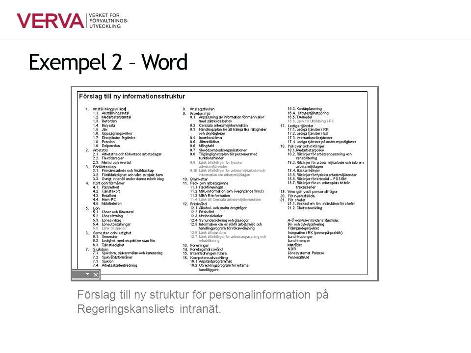 Exempel 2 – Word Förslag till ny struktur för personalinformation på Regeringskansliets intranät.