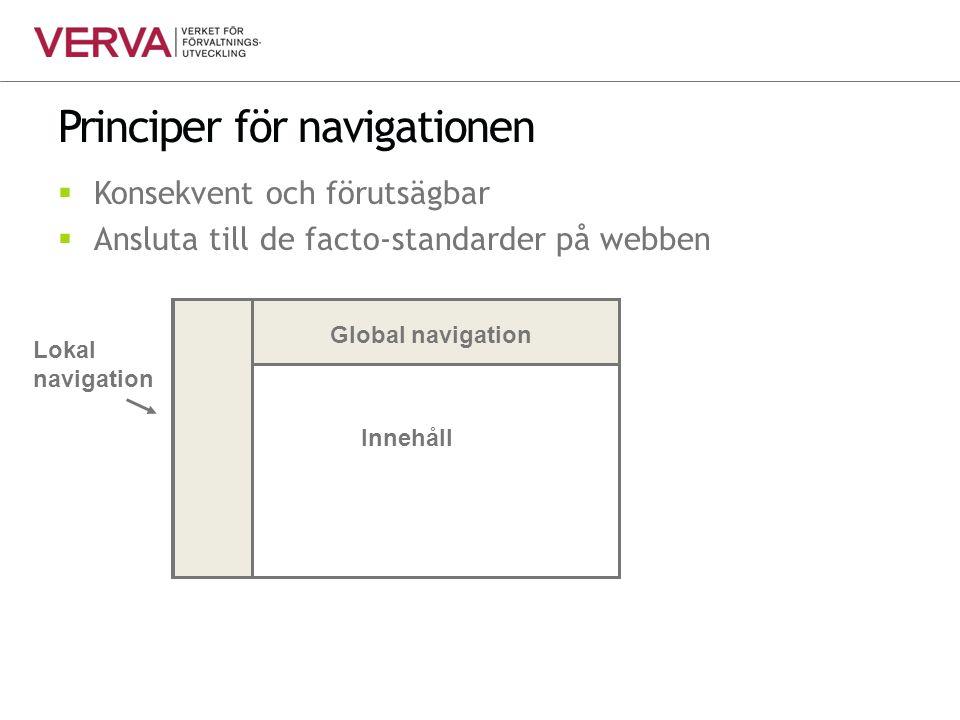 Principer för navigationen  Konsekvent och förutsägbar  Ansluta till de facto-standarder på webben Innehåll Global navigation Lokal navigation