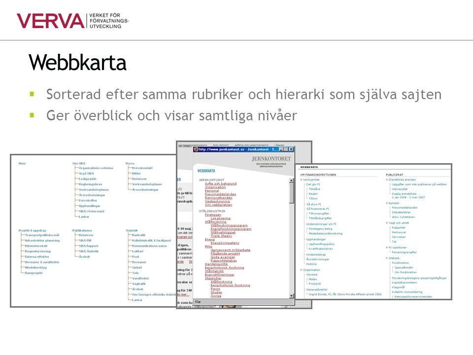 Webbkarta  Sorterad efter samma rubriker och hierarki som själva sajten  Ger överblick och visar samtliga nivåer