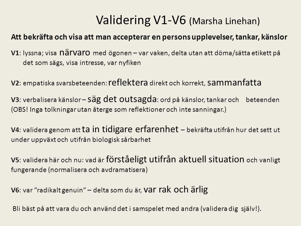 Validering V1-V6 (Marsha Linehan) V1: lyssna; visa närvaro med ögonen – var vaken, delta utan att döma/sätta etikett på det som sägs, visa intresse, v