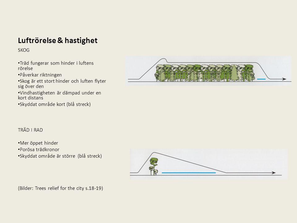 Luftrörelse & hastighet SKOG Träd fungerar som hinder i luftens rörelse Påverkar riktningen Skog är ett stort hinder och luften flyter sig över den Vi