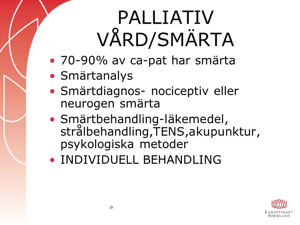 PALLIATIV VÅRD/SMÄRTA 70-90% av ca-pat har smärta Smärtanalys Smärtdiagnos- nociceptiv eller neurogen smärta Smärtbehandling-läkemedel, strålbehandling,TENS,akupunktur, psykologiska metoder INDIVIDUELL BEHANDLING »