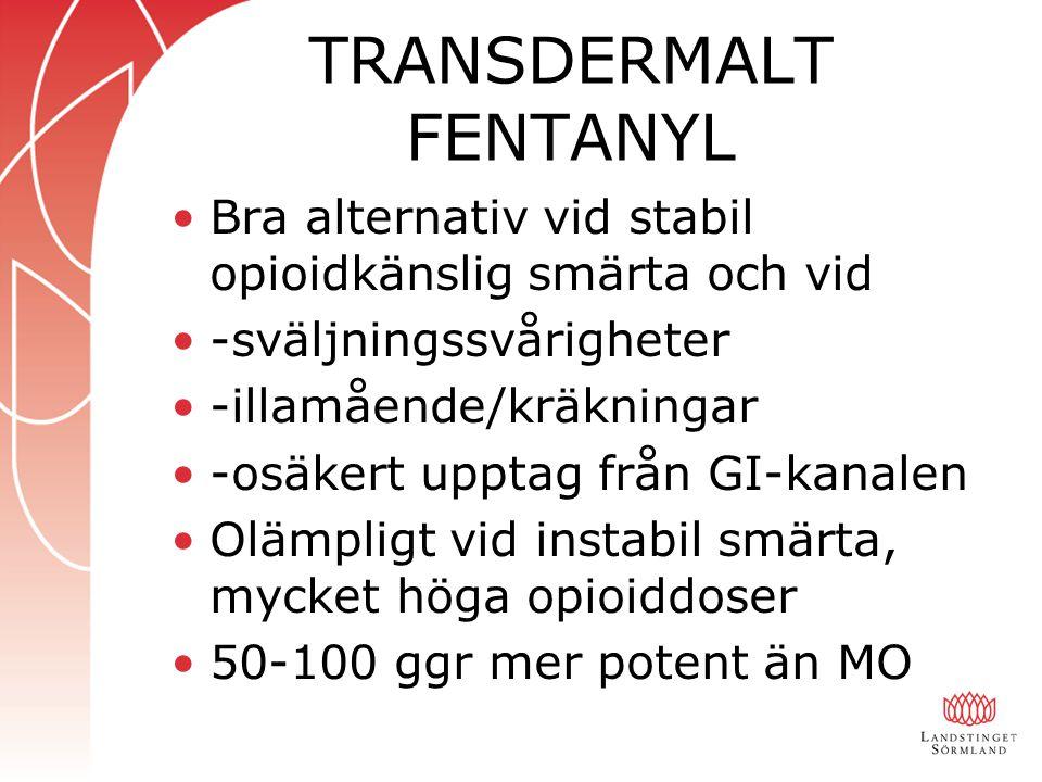 TRANSDERMALT FENTANYL Bra alternativ vid stabil opioidkänslig smärta och vid -sväljningssvårigheter -illamående/kräkningar -osäkert upptag från GI-kanalen Olämpligt vid instabil smärta, mycket höga opioiddoser 50-100 ggr mer potent än MO