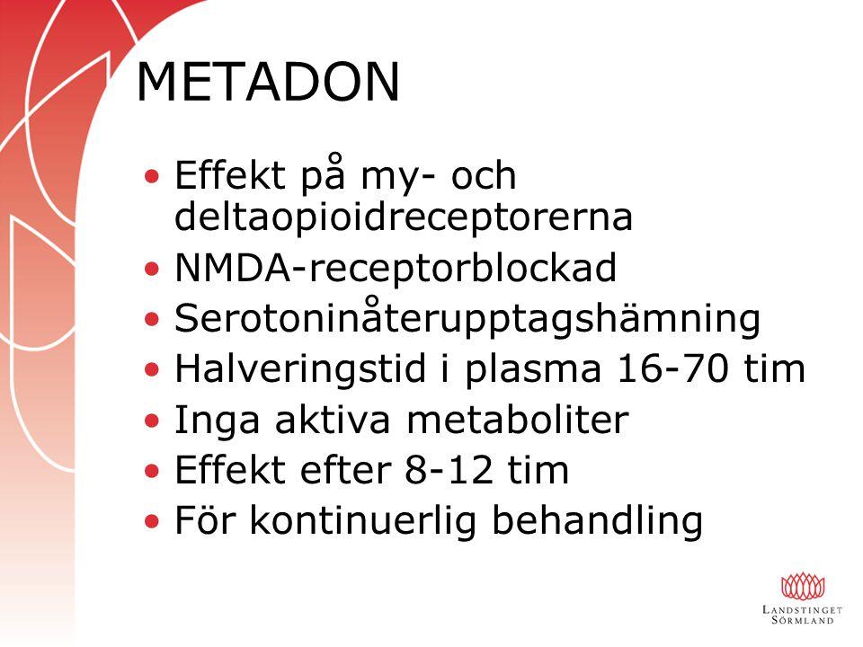 METADON Effekt på my- och deltaopioidreceptorerna NMDA-receptorblockad Serotoninåterupptagshämning Halveringstid i plasma 16-70 tim Inga aktiva metabo