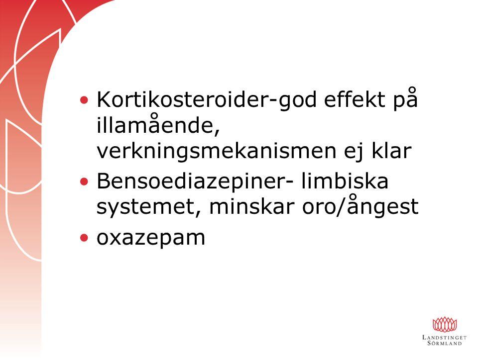 Kortikosteroider-god effekt på illamående, verkningsmekanismen ej klar Bensoediazepiner- limbiska systemet, minskar oro/ångest oxazepam