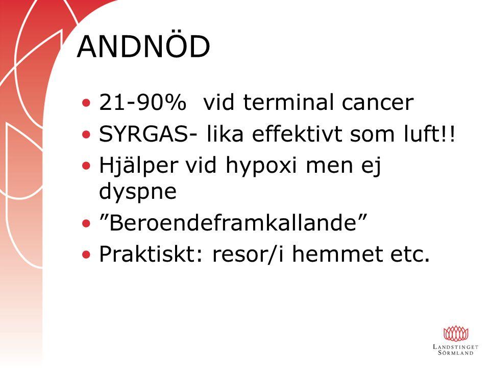 """ANDNÖD 21-90% vid terminal cancer SYRGAS- lika effektivt som luft!! Hjälper vid hypoxi men ej dyspne """"Beroendeframkallande"""" Praktiskt: resor/i hemmet"""