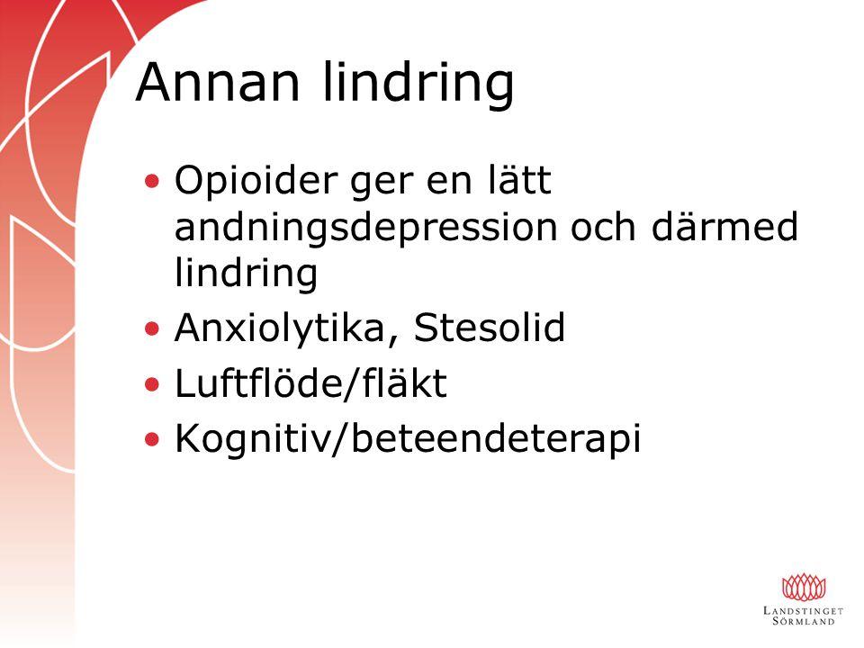 Annan lindring Opioider ger en lätt andningsdepression och därmed lindring Anxiolytika, Stesolid Luftflöde/fläkt Kognitiv/beteendeterapi