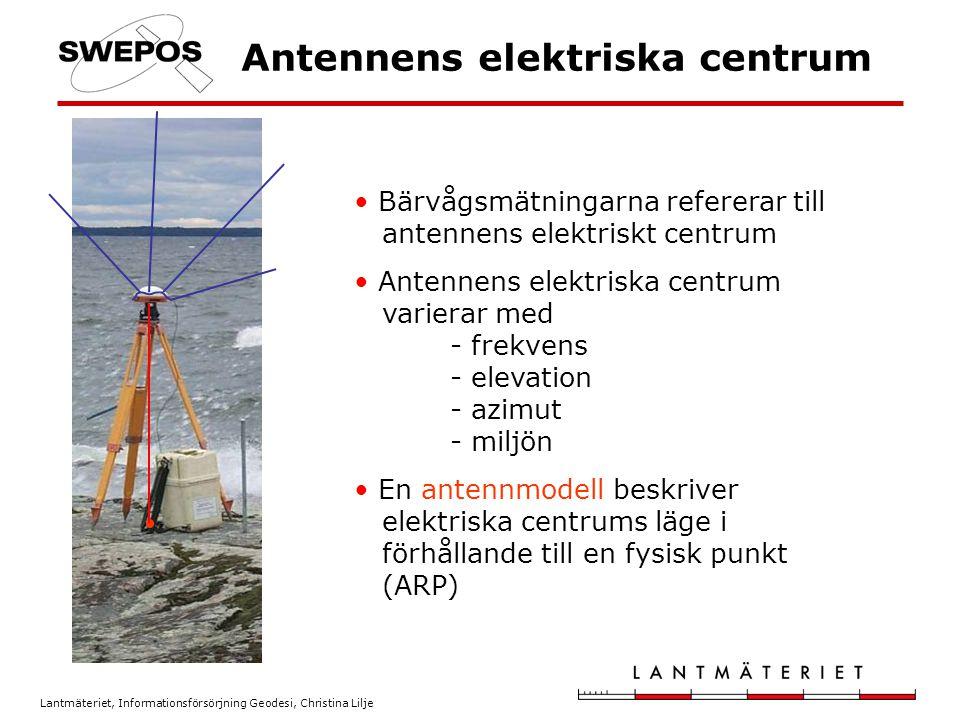 Lantmäteriet, Informationsförsörjning Geodesi, Christina Lilje Antennmodell Elektriska centrums läge i förhållande till ARP anges som: - offset (i plan och höjd), vilka är olika för L1 och L2 - en funktion av azimut och elevation för L1 och L2 Det finns relativa (från t.ex.