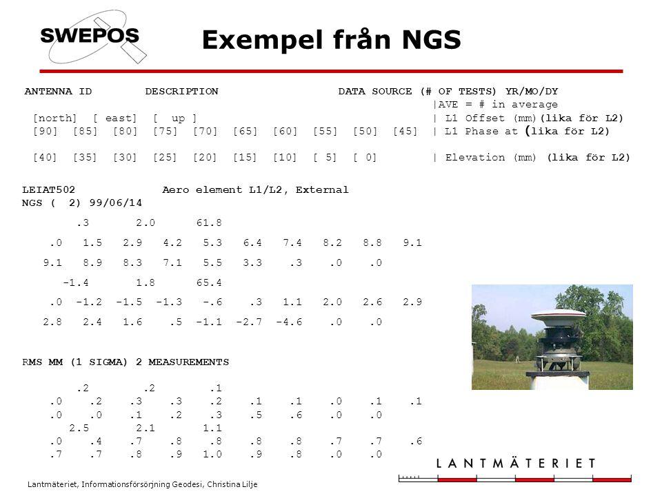 Lantmäteriet, Informationsförsörjning Geodesi, Christina Lilje Slutsatser Beräknade positioner är beroende av beräkningsmodeller och då inte minst de antennmodeller som har använts Blanda inte antennmodeller från olika källor, framförallt inte absoluta och relativa Var noggrann vid hantering av antennmodeller och gör tester med ny utrustning/nya antennmodeller Använd NGS relativa modell på rovern vid användande av SWEPOS nätverks-RTK-tjänst