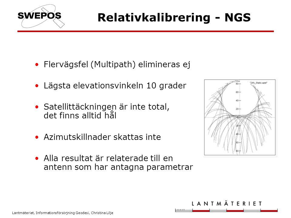 Lantmäteriet, Informationsförsörjning Geodesi, Christina Lilje Relativkalibrering - NGS Flervägsfel (Multipath) elimineras ej Lägsta elevationsvinkeln