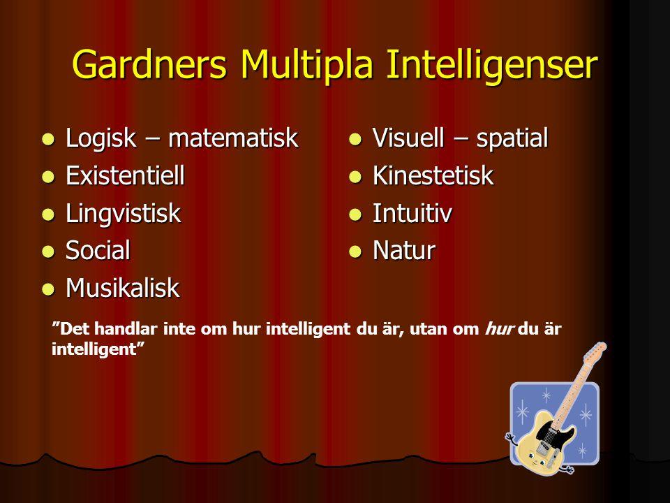 Gardners Multipla Intelligenser Logisk – matematisk Logisk – matematisk Existentiell Existentiell Lingvistisk Lingvistisk Social Social Musikalisk Mus