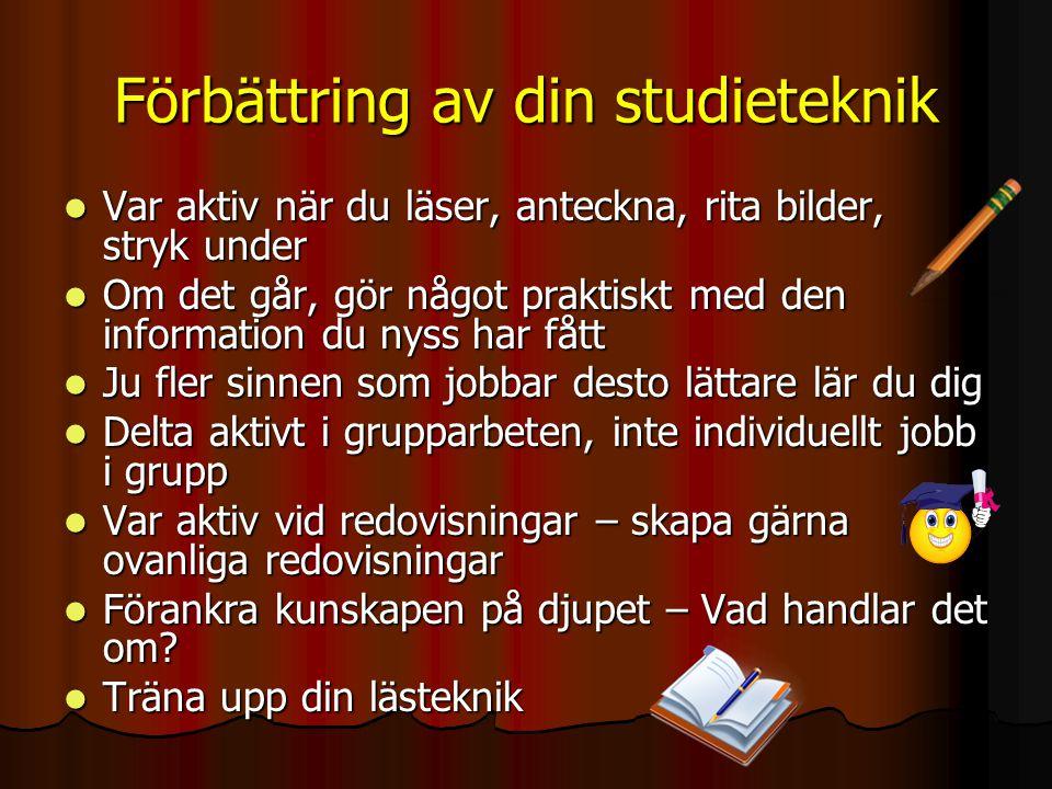 Förbättring av din studieteknik Var aktiv när du läser, anteckna, rita bilder, stryk under Var aktiv när du läser, anteckna, rita bilder, stryk under