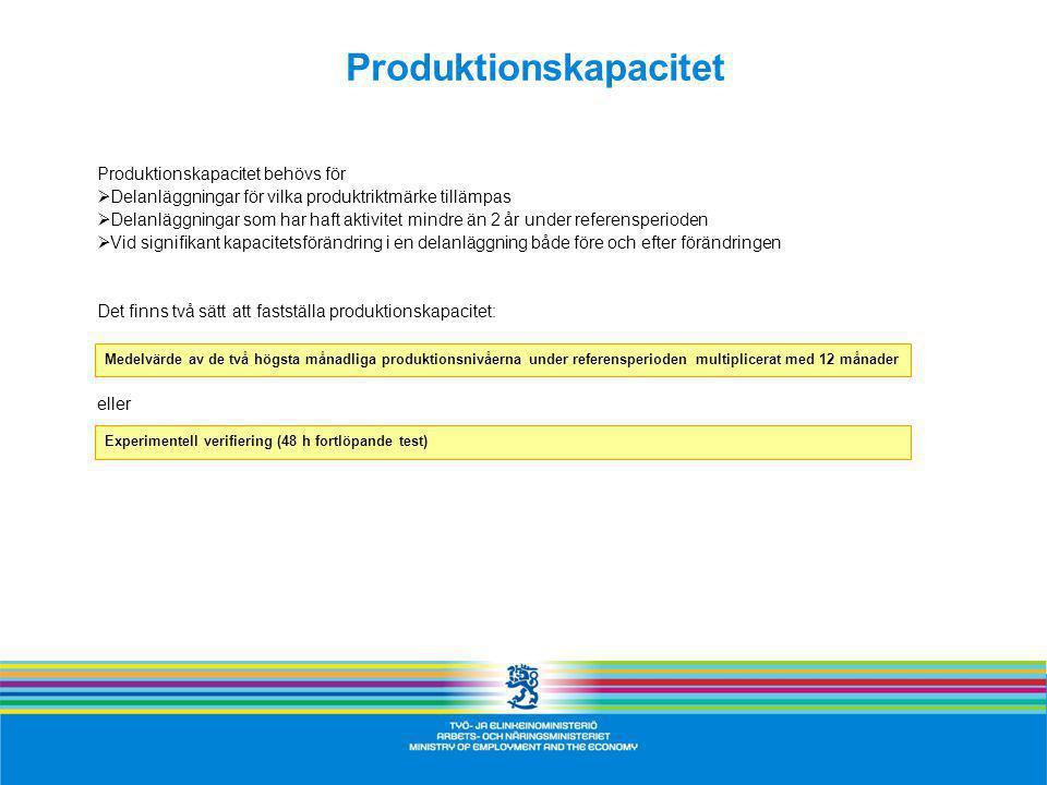 Produktionskapacitet Produktionskapacitet behövs för  Delanläggningar för vilka produktriktmärke tillämpas  Delanläggningar som har haft aktivitet mindre än 2 år under referensperioden  Vid signifikant kapacitetsförändring i en delanläggning både före och efter förändringen Det finns två sätt att fastställa produktionskapacitet: eller Medelvärde av de två högsta månadliga produktionsnivåerna under referensperioden multiplicerat med 12 månader Experimentell verifiering (48 h fortlöpande test)