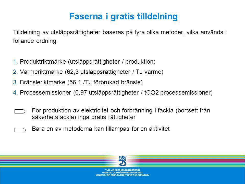 Faserna i gratis tilldelning Tilldelning av utsläppsrättigheter baseras på fyra olika metoder, vilka används i följande ordning.