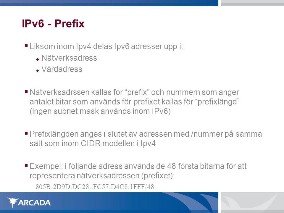 """IPv6 - Prefix  Liksom inom Ipv4 delas Ipv6 adresser upp i:  Nätverksadress  Värdadress  Nätverksadrssen kallas för """"prefix"""" och nummern som anger"""