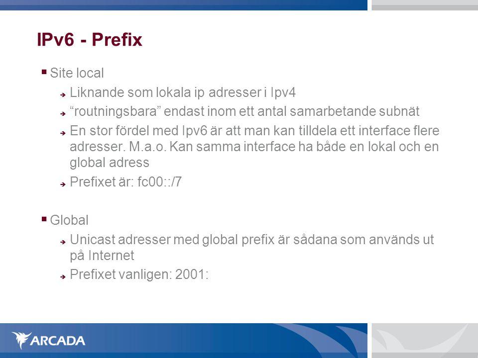 """IPv6 - Prefix  Site local  Liknande som lokala ip adresser i Ipv4  """"routningsbara"""" endast inom ett antal samarbetande subnät  En stor fördel med I"""