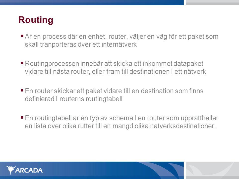 Routing  Är en process där en enhet, router, väljer en väg för ett paket som skall tranporteras över ett internätverk  Routingprocessen innebär att