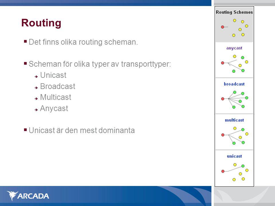 Routing  Det finns olika routing scheman.  Scheman för olika typer av transporttyper:  Unicast  Broadcast  Multicast  Anycast  Unicast är den m