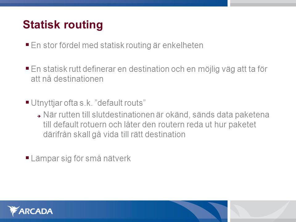 Statisk routing  En stor fördel med statisk routing är enkelheten  En statisk rutt definerar en destination och en möjlig väg att ta för att nå dest