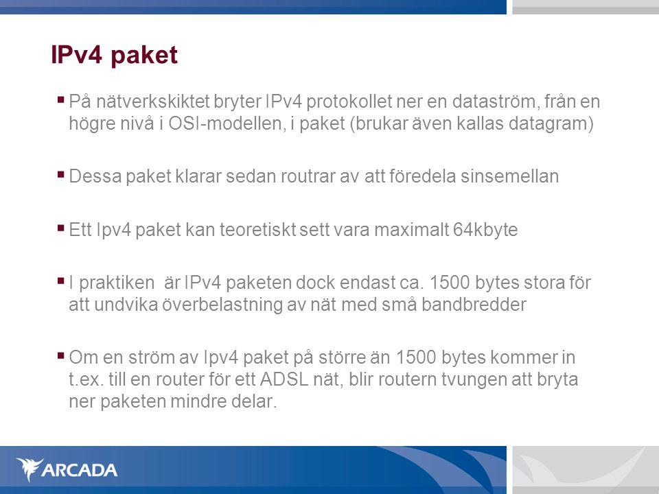 IPv4 paket  På nätverkskiktet bryter IPv4 protokollet ner en dataström, från en högre nivå i OSI-modellen, i paket (brukar även kallas datagram)  D