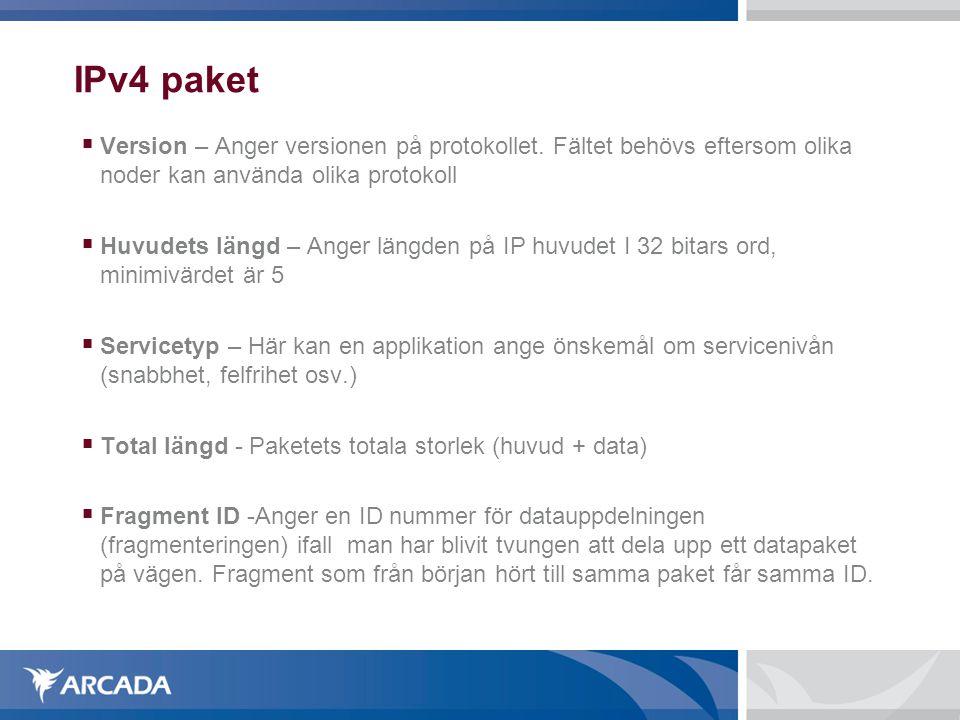  Version – Anger versionen på protokollet. Fältet behövs eftersom olika noder kan använda olika protokoll  Huvudets längd – Anger längden på IP huvu