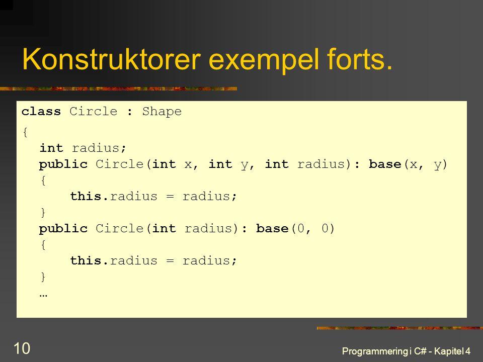 Programmering i C# - Kapitel 4 10 Konstruktorer exempel forts. class Circle : Shape { int radius; public Circle(int x, int y, int radius): base(x, y)