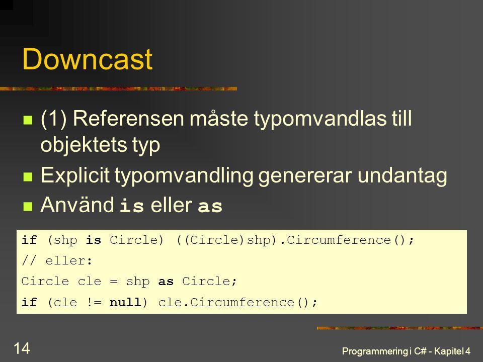 Programmering i C# - Kapitel 4 14 Downcast (1) Referensen måste typomvandlas till objektets typ Explicit typomvandling genererar undantag Använd is el