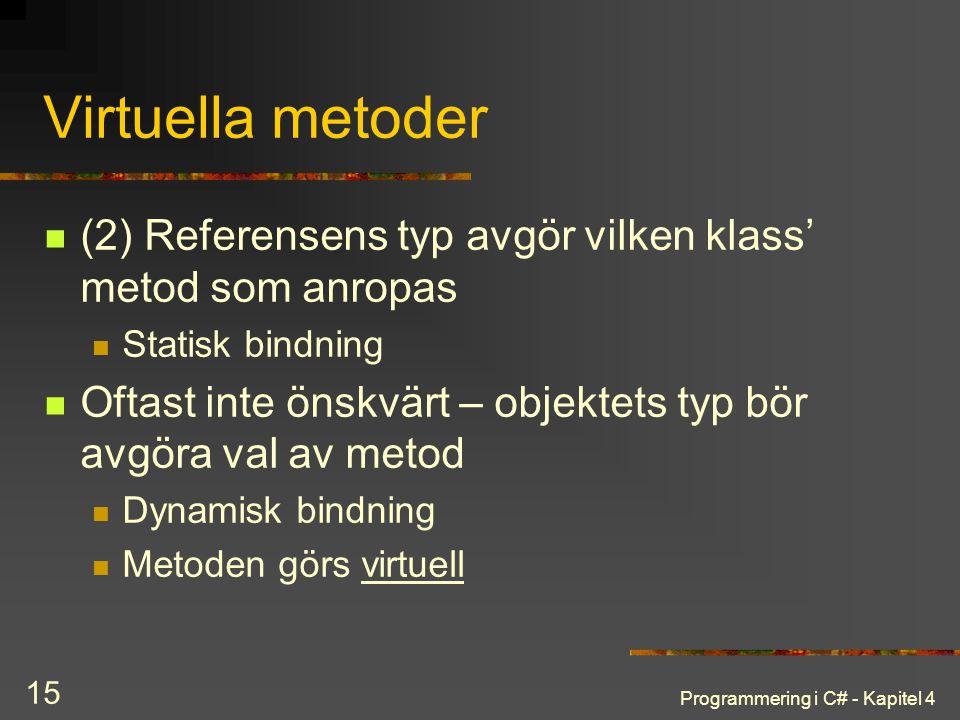 Programmering i C# - Kapitel 4 15 Virtuella metoder (2) Referensens typ avgör vilken klass' metod som anropas Statisk bindning Oftast inte önskvärt –