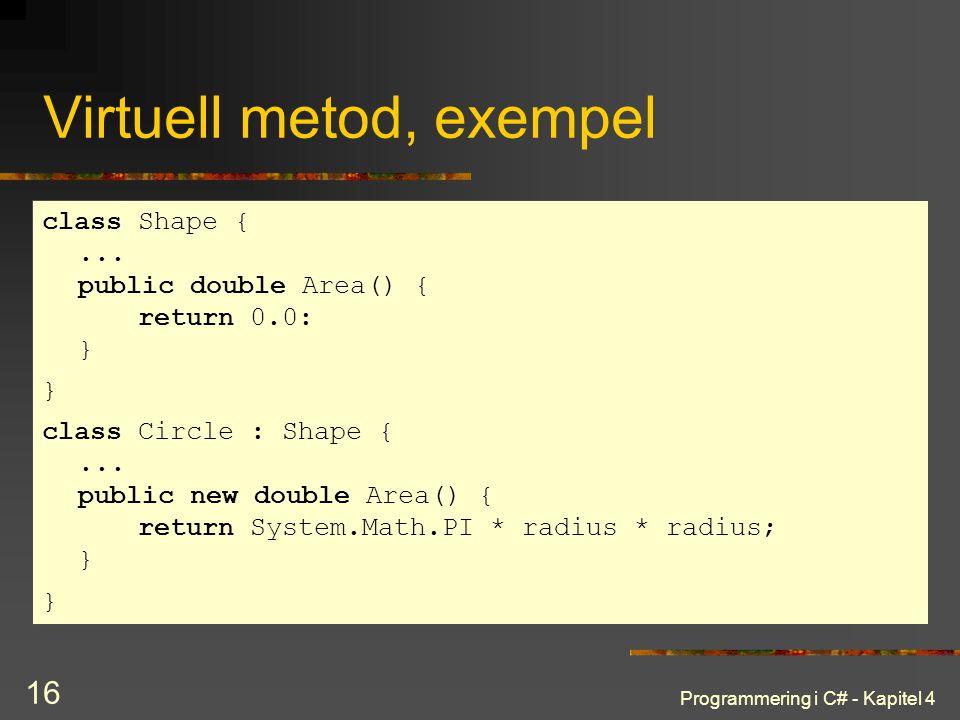 Programmering i C# - Kapitel 4 16 Virtuell metod, exempel class Shape {... public double Area() { return 0.0: } } class Circle : Shape {... public new