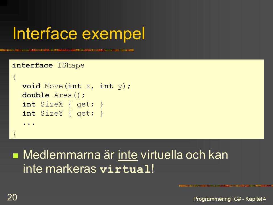 Programmering i C# - Kapitel 4 20 Interface exempel Medlemmarna är inte virtuella och kan inte markeras virtual ! interface IShape { void Move(int x,