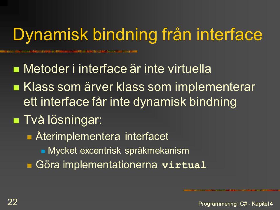 Programmering i C# - Kapitel 4 22 Dynamisk bindning från interface Metoder i interface är inte virtuella Klass som ärver klass som implementerar ett i