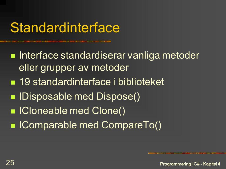 Programmering i C# - Kapitel 4 25 Standardinterface Interface standardiserar vanliga metoder eller grupper av metoder 19 standardinterface i bibliotek