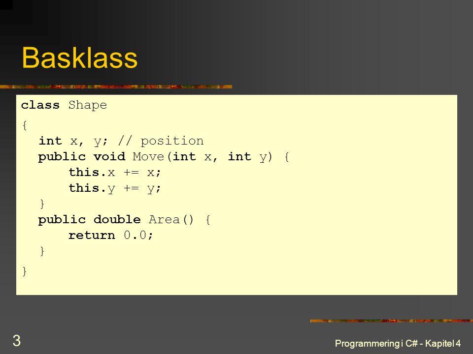 Programmering i C# - Kapitel 4 3 Basklass class Shape { int x, y; // position public void Move(int x, int y) { this.x += x; this.y += y; } public doub