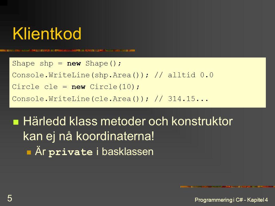 Programmering i C# - Kapitel 4 5 Klientkod Härledd klass metoder och konstruktor kan ej nå koordinaterna! Är private i basklassen Shape shp = new Shap