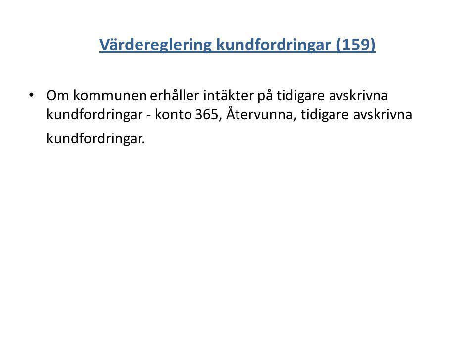 Värdereglering kundfordringar (159) Om kommunen erhåller intäkter på tidigare avskrivna kundfordringar - konto 365, Återvunna, tidigare avskrivna kund